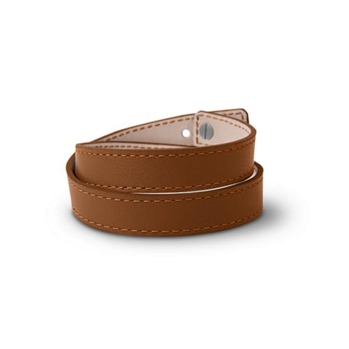 Leather Wristband Bracelet for Men & Women - Tan - Smooth Leather
