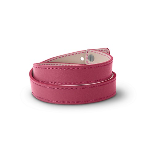 Leather Wristband Bracelet for Men & Women - Fuchsia  - Smooth Leather