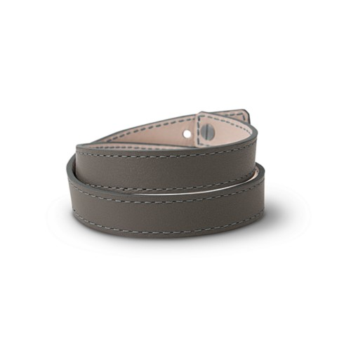 Leather Wristband Bracelet for Men & Women - Mouse-Grey - Smooth Leather