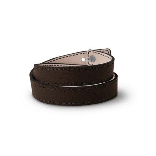 Leather Wristband Bracelet for Men & Women - Dark Brown - Smooth Leather
