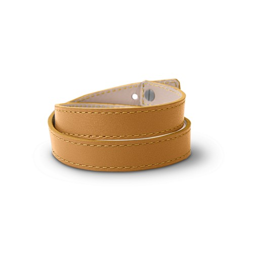 Leather Wristband Bracelet for Men & Women - Natural - Smooth Leather