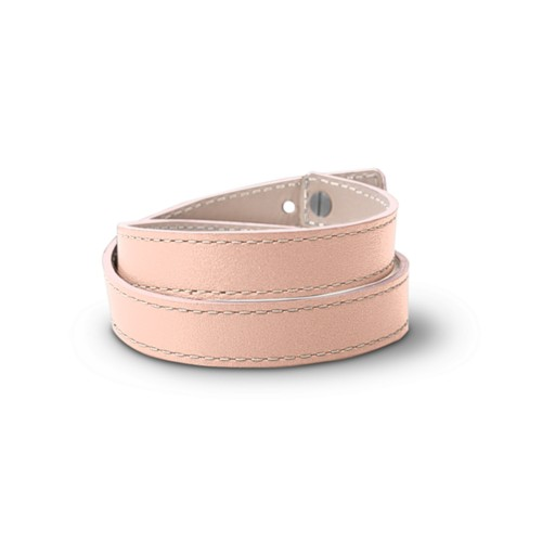Leather Wristband Bracelet for Men & Women - Nude - Smooth Leather