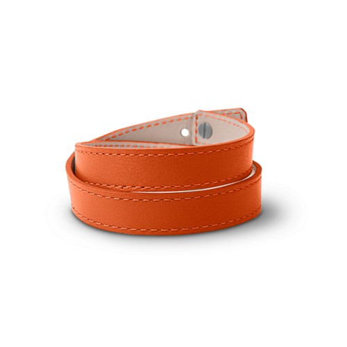 Leather Wristband Bracelet for Men & Women - Orange - Smooth Leather