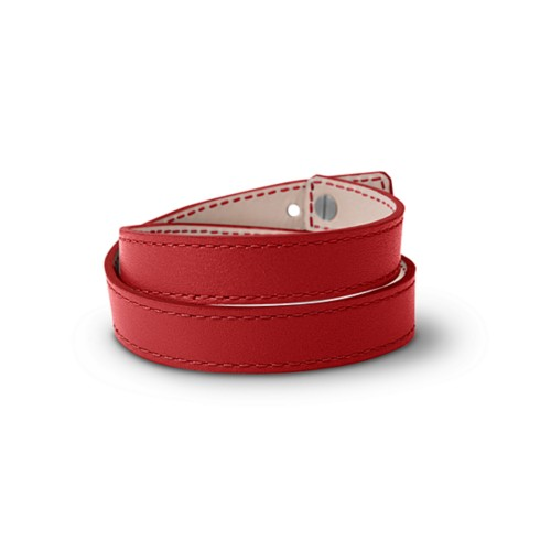 Leather Wristband Bracelet for Men & Women - Red - Smooth Leather