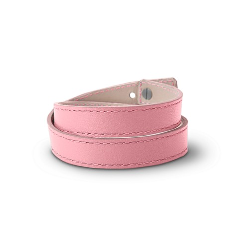 Leather Wristband Bracelet for Men & Women - Pink - Smooth Leather