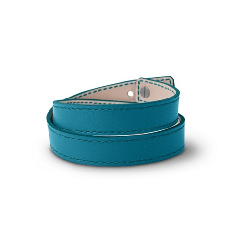 Leather Wristband Bracelet for Men & Women - Turquoise - Smooth Leather