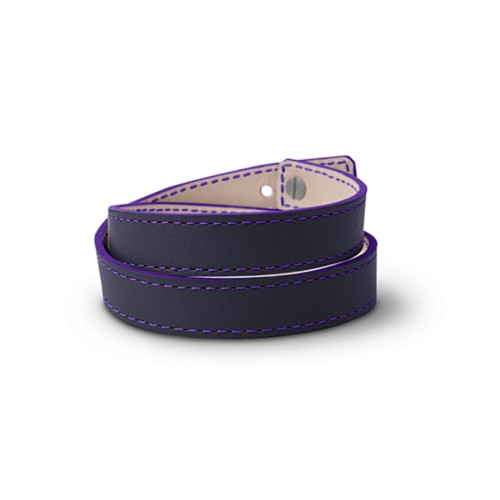 Leather Wristband Bracelet for Men & Women - Purple - Smooth Leather