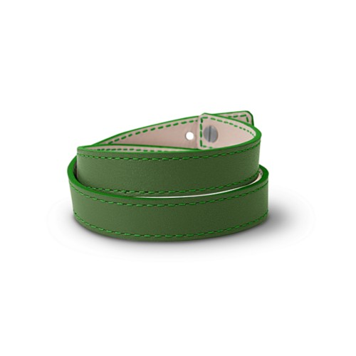 Leather Wristband Bracelet for Men & Women - Light Green - Smooth Leather