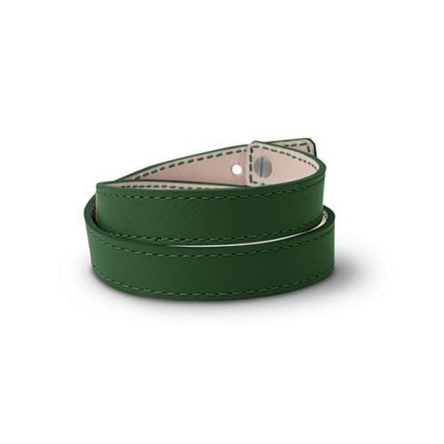 Leather Wristband Bracelet for Men & Women - Dark Green - Smooth Leather