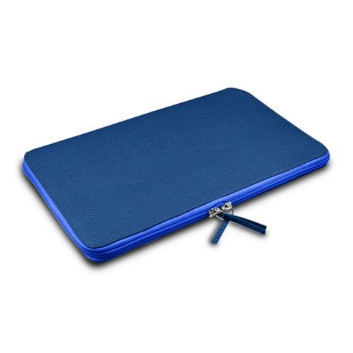 Grande borsa con cerniera per MacBook Air 13 inch - Blu Azzuro - Pelle Ruvida