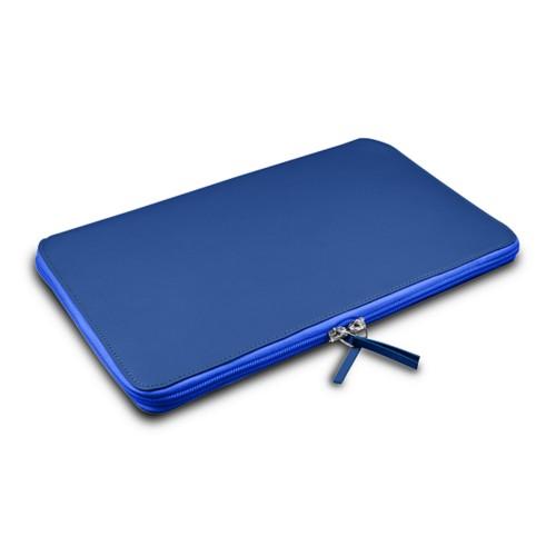 Grande borsa con cerniera per MacBook Air 13 inch - Blu Azzuro - Pelle Liscia