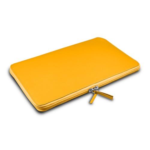 Grande borsa con cerniera per MacBook Air 13 inch - Giallo sole - Pelle Liscia