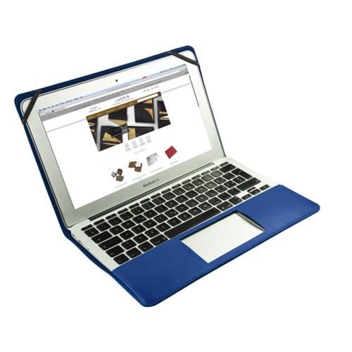 Scrigno semirigido in cuoio per MacBook Air 11 pollici - Blu Azzuro - Pelle Liscia