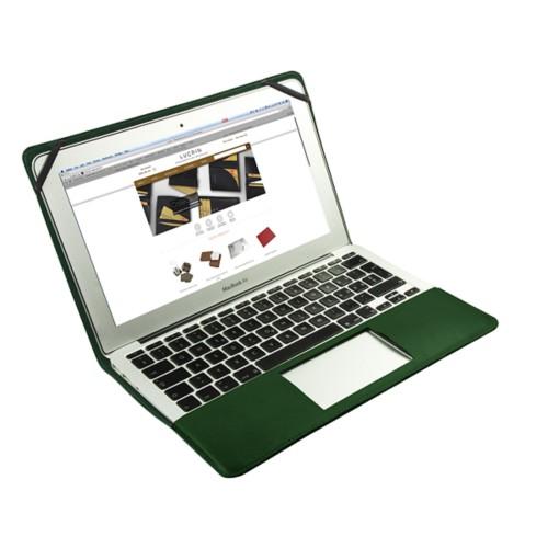 Scrigno semirigido in cuoio per MacBook Air 11 pollici - Verde scuro - Pelle Liscia