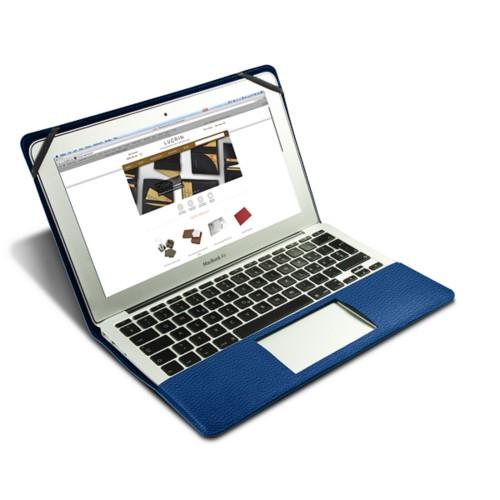 Scrigno semirigido in cuoio per MacBook Air 13 pollici - Blu Azzuro - Pelle Ruvida