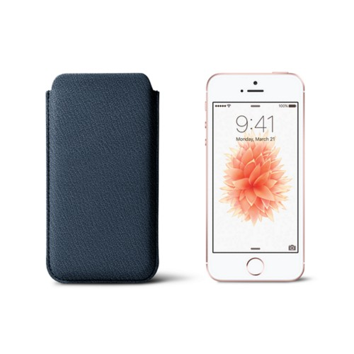 Classic iPhone SE/5/5s sleeve - Navy Blue - Goat Leather