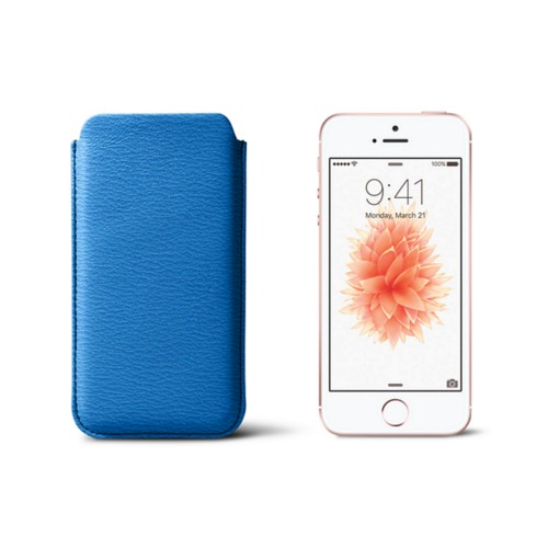 Classic iPhone SE/5/5s sleeve - Royal Blue - Goat Leather