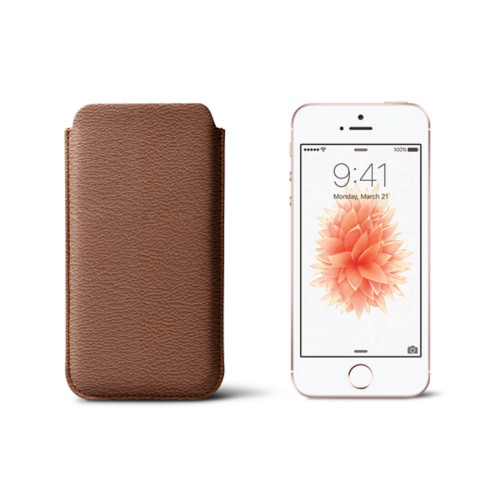 Classic iPhone SE/5/5s sleeve - Tan - Goat Leather