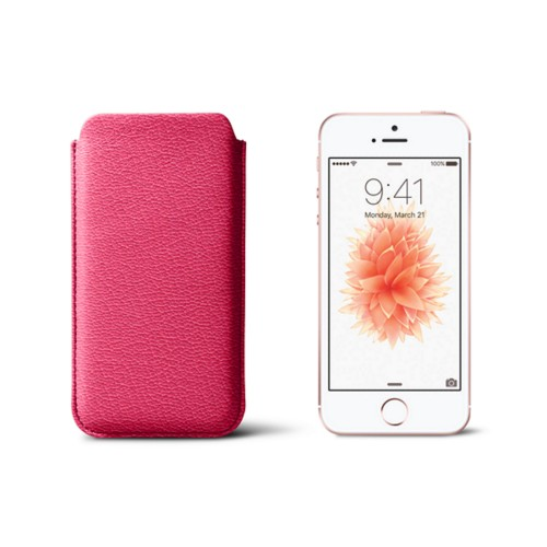 Classic iPhone SE/5/5s sleeve - Fuchsia  - Goat Leather