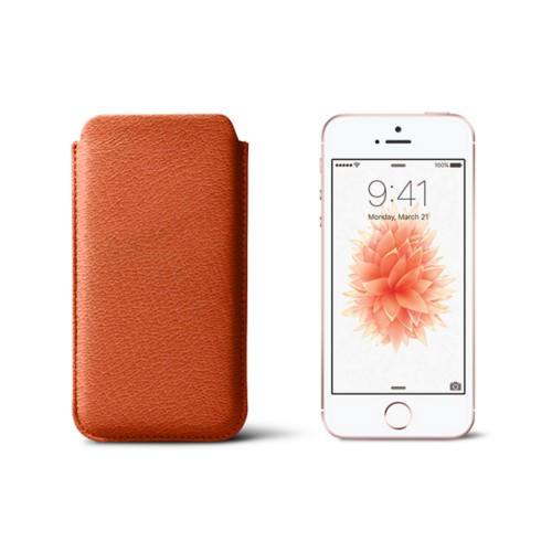 Classic iPhone SE/5/5s sleeve - Orange - Goat Leather