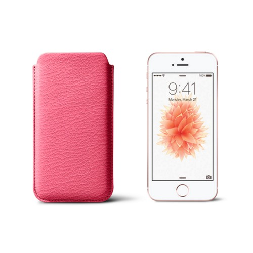 Classic iPhone SE/5/5s sleeve - Pink - Goat Leather