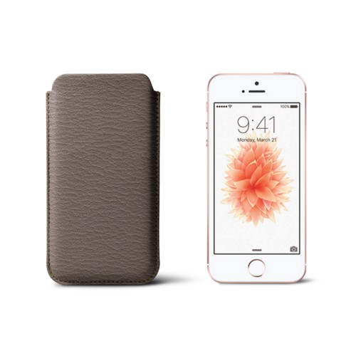 Classic iPhone SE/5/5s sleeve - Dark Taupe - Goat Leather