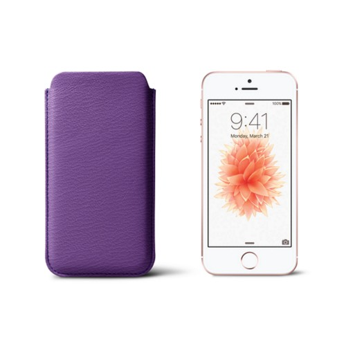 Classic iPhone SE/5/5s sleeve - Purple - Goat Leather