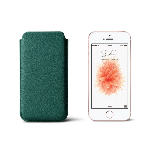 Classic iPhone SE/5/5s sleeve - Dark Green - Goat Leather