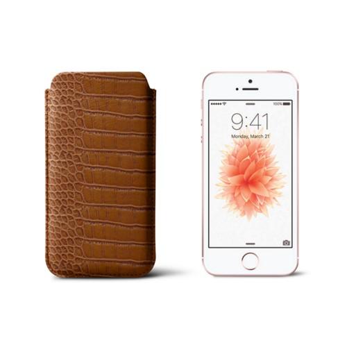 Classic iPhone SE/5/5s sleeve - Camel - Crocodile style calfskin