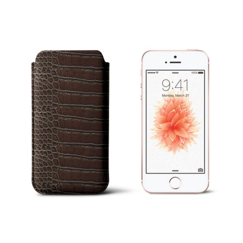 Classic iPhone SE/5/5s sleeve - Dark Brown - Crocodile style calfskin