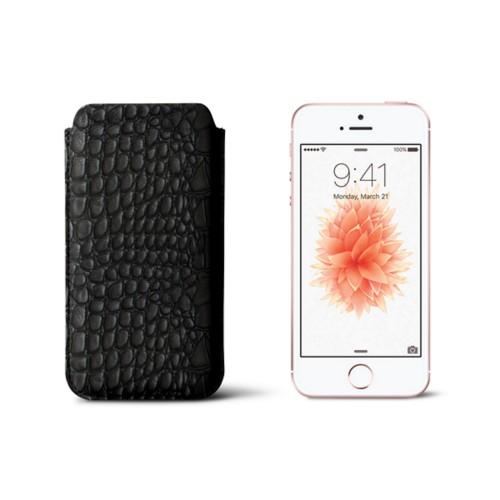 Classic iPhone SE/5/5s sleeve - Black - Crocodile style calfskin