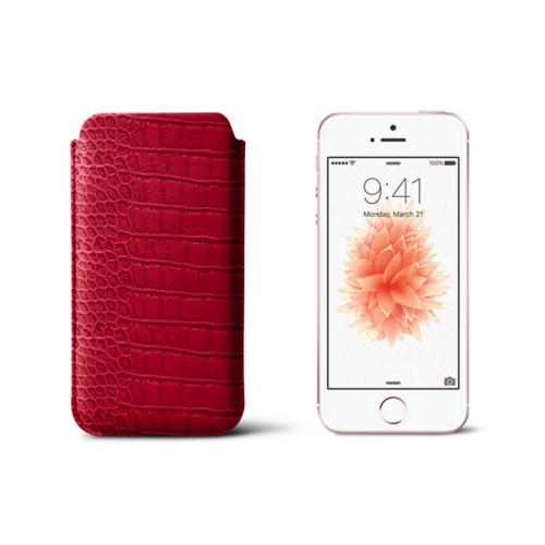 Classic iPhone SE/5/5s sleeve - Red - Crocodile style calfskin