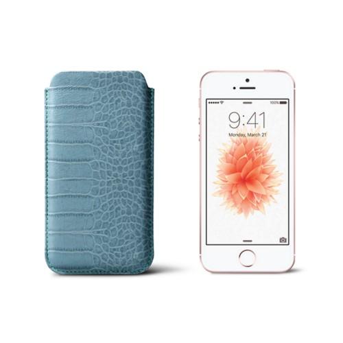 Classic iPhone SE/5/5s sleeve - Turquoise - Crocodile style calfskin
