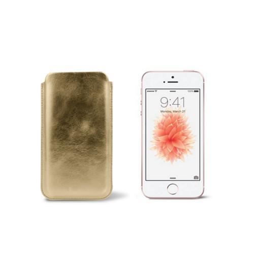 Classic iPhone SE/5/5s sleeve - Golden - Metallic Leather