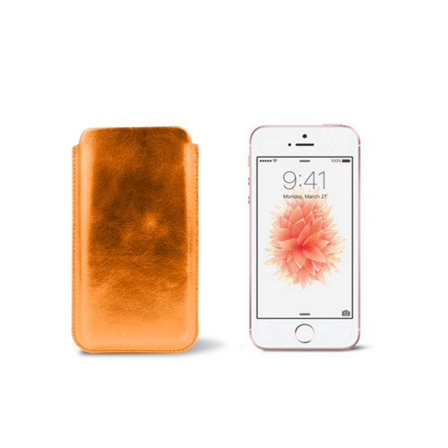 Classic iPhone SE/5/5s sleeve - Orange - Metallic Leather