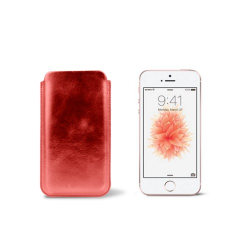 Classic iPhone SE/5/5s sleeve - Red - Metallic Leather