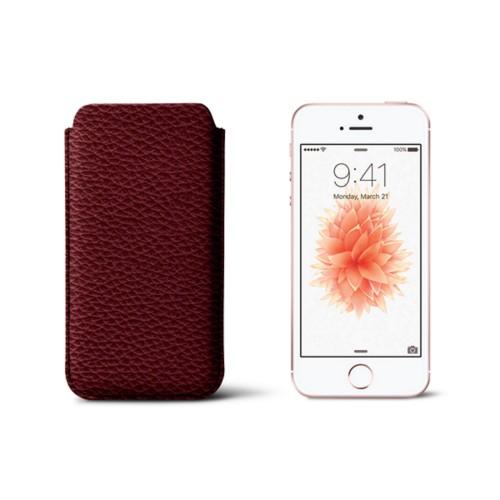 Classic iPhone SE/5/5s sleeve - Burgundy - Granulated Leather