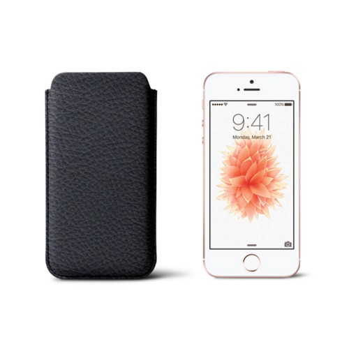 Classic iPhone SE/5/5s sleeve - Navy Blue - Granulated Leather