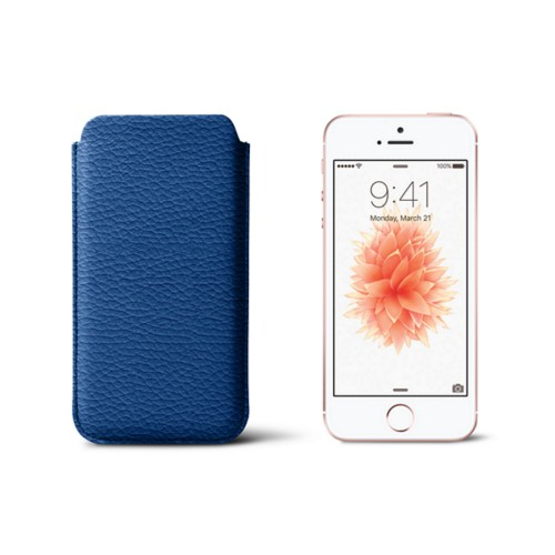 Classic iPhone SE/5/5s sleeve - Royal Blue - Granulated Leather
