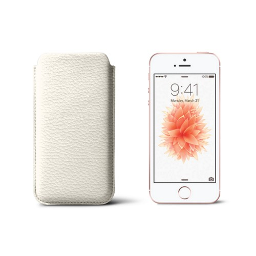 Classic iPhone SE/5/5s sleeve - Off-White - Granulated Leather