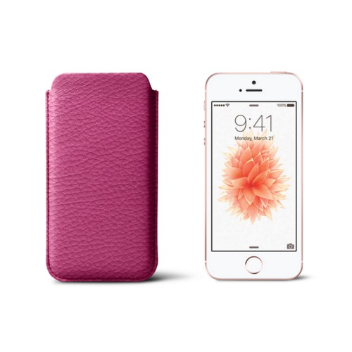 Classic iPhone SE/5/5s sleeve - Fuchsia  - Granulated Leather