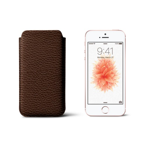 Classic iPhone SE/5/5s sleeve - Dark Brown - Granulated Leather