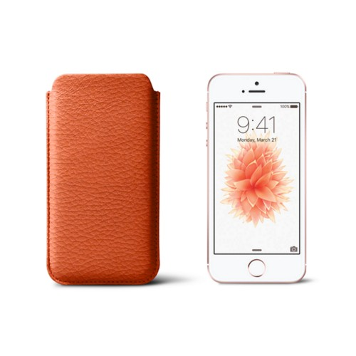 Classic iPhone SE/5/5s sleeve - Orange - Granulated Leather