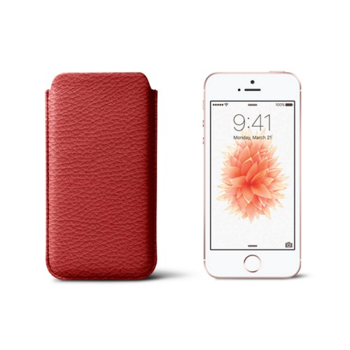 Classic iPhone SE/5/5s sleeve - Red - Granulated Leather