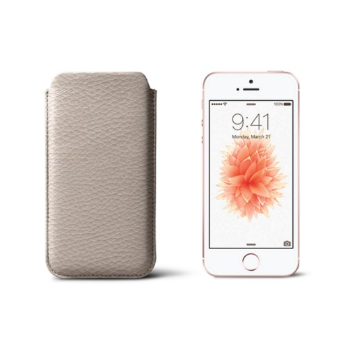 Classic iPhone SE/5/5s sleeve - Light Taupe - Granulated Leather