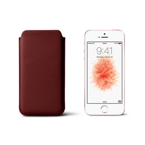 Classic iPhone SE/5/5s sleeve - Burgundy - Smooth Leather