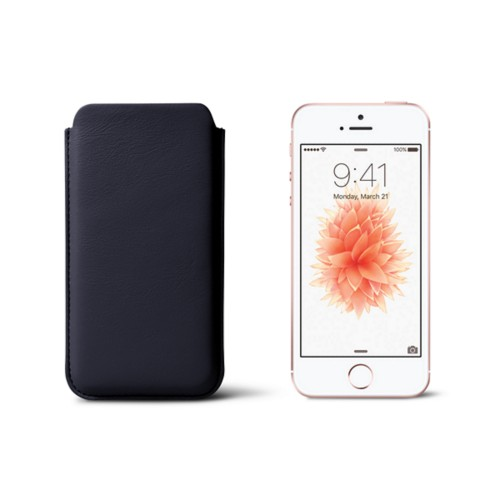 Classic iPhone SE/5/5s sleeve - Navy Blue - Smooth Leather