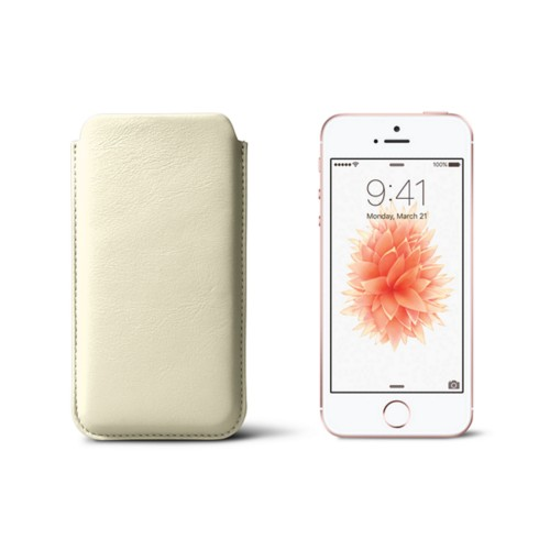 Classic iPhone SE/5/5s sleeve - Off-White - Smooth Leather