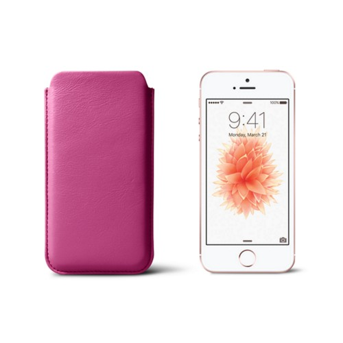 Classic iPhone SE/5/5s sleeve - Fuchsia  - Smooth Leather