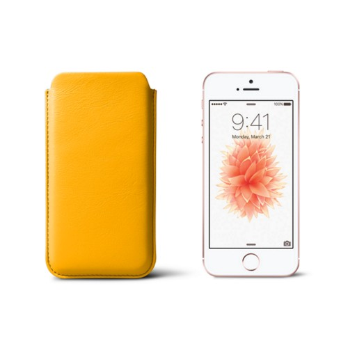 Classic iPhone SE/5/5s sleeve - Sun Yellow - Smooth Leather